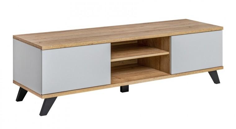 Drevený TV stolík Sevalda (riviera, perla gray)