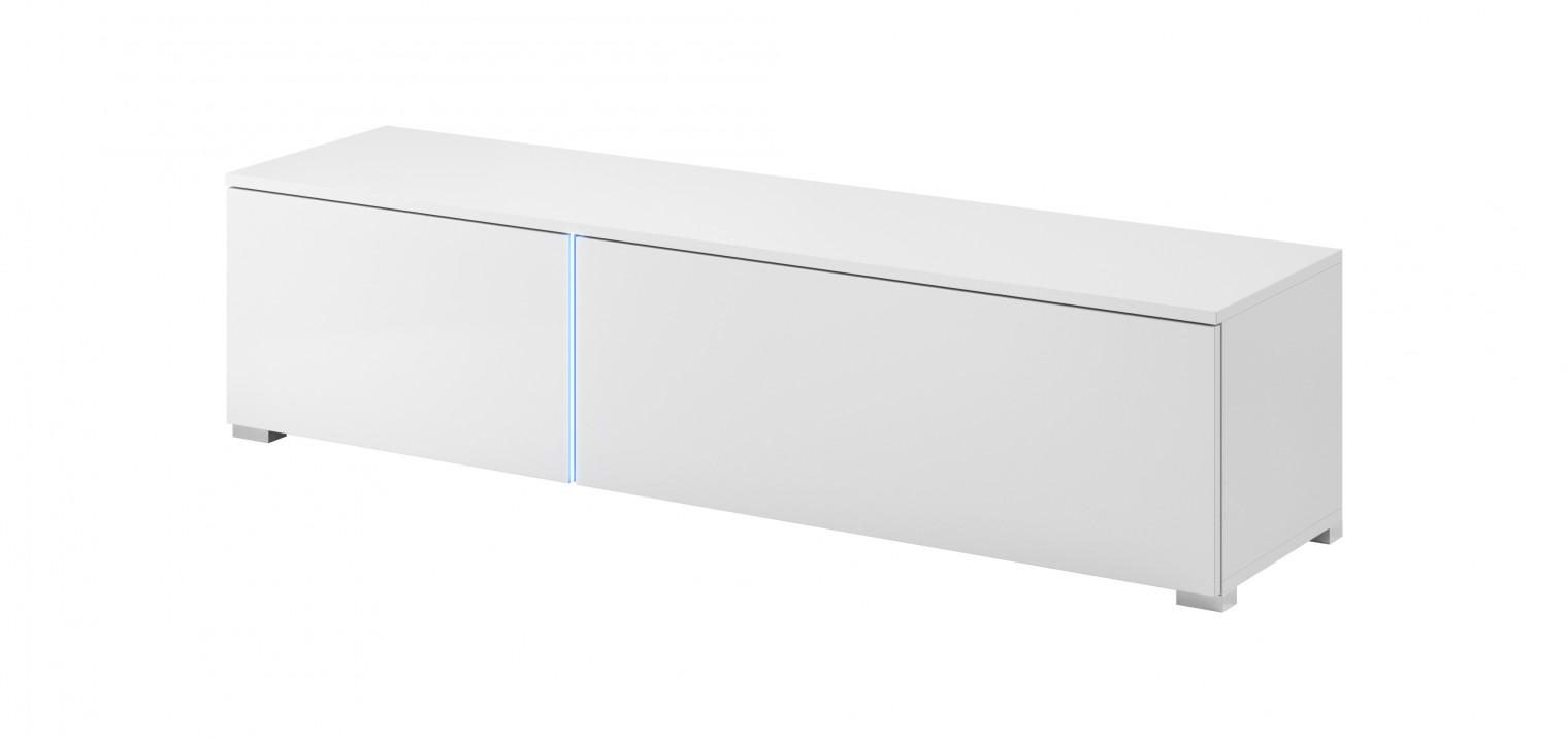 Drevený TV stolík Simple (biela, biela lesk)