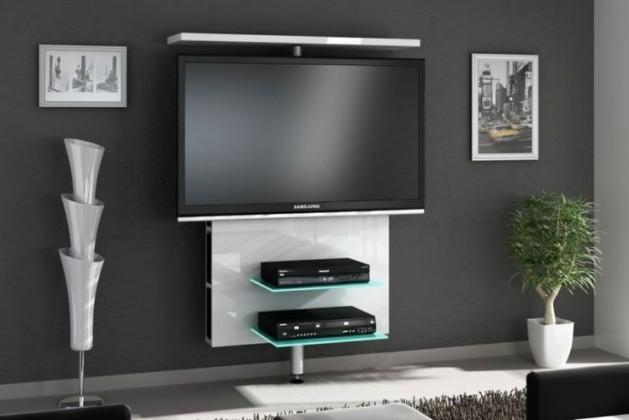 Drevený Vario - TV stolík (biela vysoký lesk)