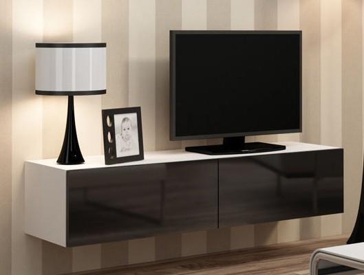 Drevený Vigo - TV komoda 140 (biela mat/čierna VL)