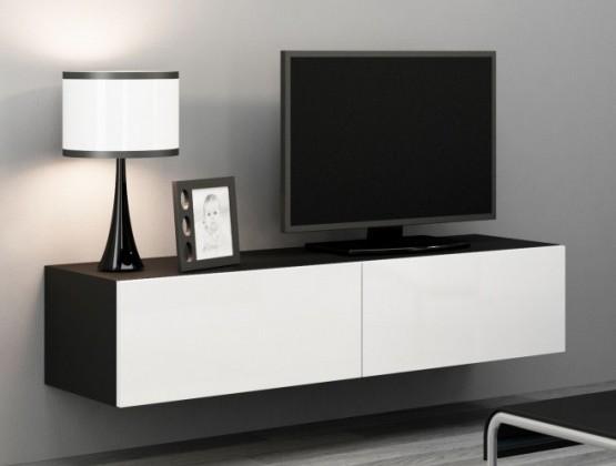 Drevený Vigo - TV komoda 140 (čierna mat/biela VL)