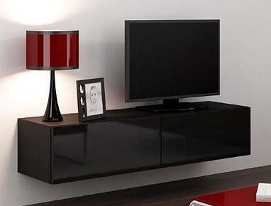 Drevený Vigo - TV komoda 140 (čierna mat/čierna VL)
