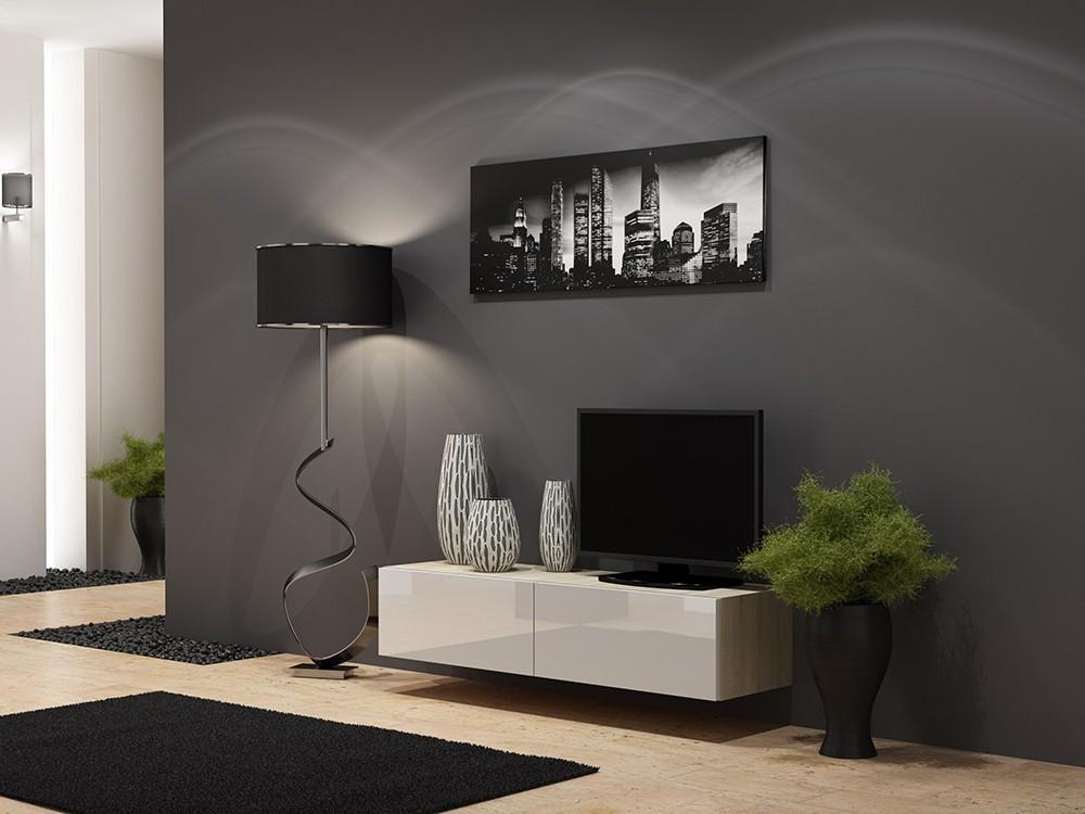 Drevený Vigo - TV komoda 140 (dub sonoma/biela lesk)