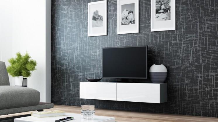 Drevený Vigo - TV komoda 140 (šedá/biela lesk)