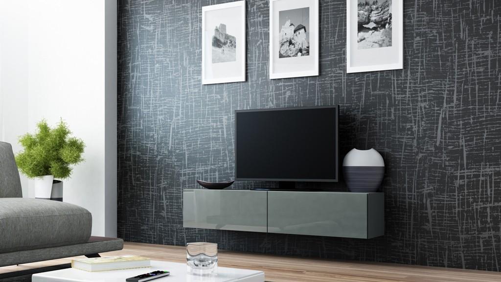 Drevený Vigo - TV komoda 140 (šedá/šedá lesk)