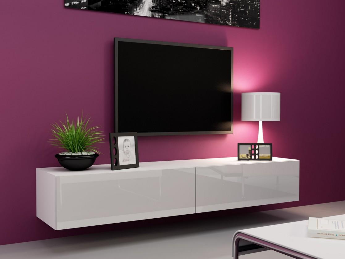 Drevený Vigo - TV komoda 180 (biela mat/biela VL)