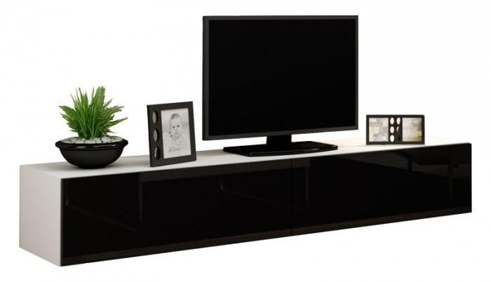 Drevený Vigo - TV komoda 180  (biela mat/čierna VL)