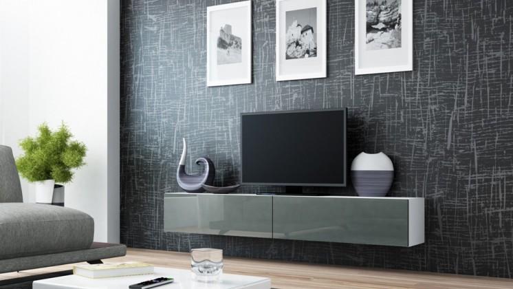 Drevený Vigo - TV komoda 180 (biela/šedá lesk)