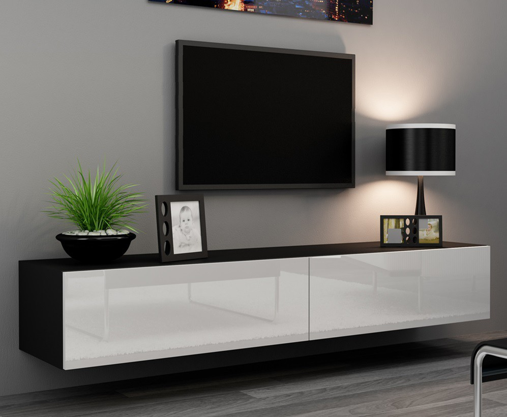 Drevený Vigo - TV komoda 180 (čierna mat/biela VL)