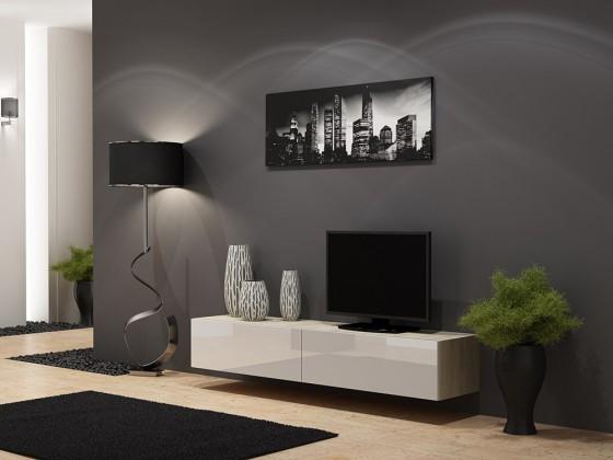 Drevený Vigo - TV komoda 180 (dub sonoma/biela lesk)