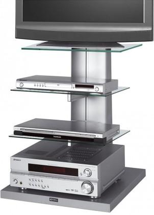 Drevený Wenus - TV stolík s držiakom (strieborná/číré sklo)