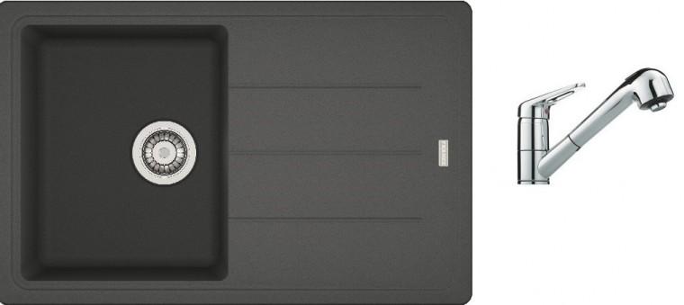 Drezový set SET1 - Drez granit + batéria (grafit, strieborná)