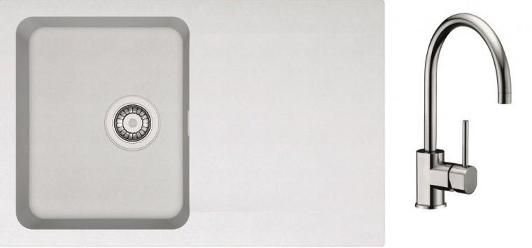 Drezový set SET10 - Drez tectonite + batéria (biela, strieborná)