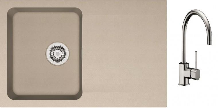Drezový set SET13 - Drez tectonite + batéria (kávová, strieborná)