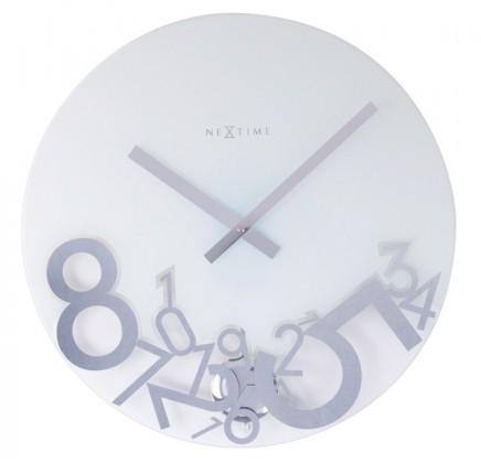 Dropped - hodiny, nástenné kyvadlové, guľaté (sklo, biele)