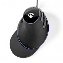 Drôtová ergonomická myš Nedis ERGOMSWD200BK, čierna