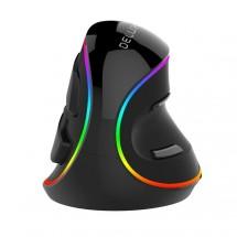 Drôtová myš Delux M618, vertikálna, RGB, 6 tlačidiel, čierna