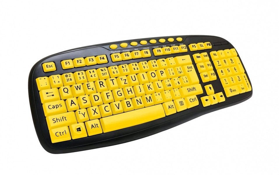 Drôtové klávesnice C-TECH KB-103MS, černá/žlutá, CZ/SK KB-103MS