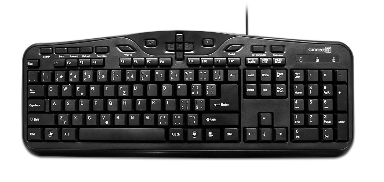 Drôtové klávesnice Connect IT CI-81 USB CZ, čierna