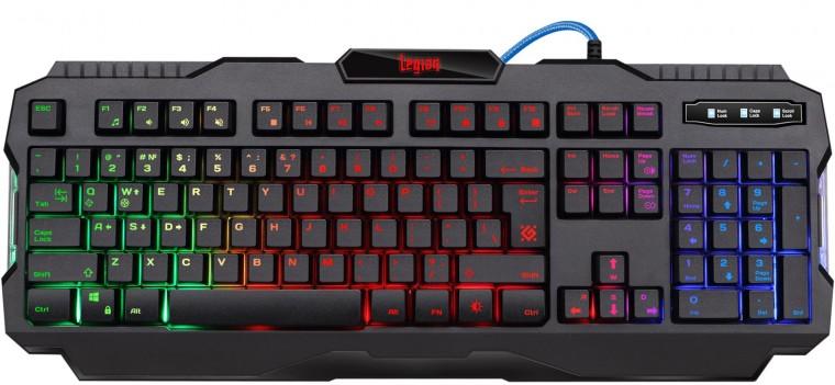 Drôtové klávesnice Klávesnica Defender Legion GK-010DL, herná, US layout, čierna