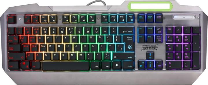 Drôtové klávesnice Klávesnica Defender Stainless steel GK-150DL, US, strieborná