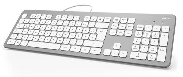 Drôtové klávesnice Klávesnica Hama KC-700, CZ/SK, strieborná/biela