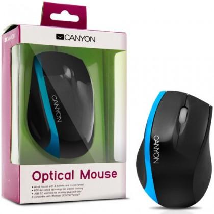 Drôtové myši CANYON CNR-MSO01NBL, čierna-modrá