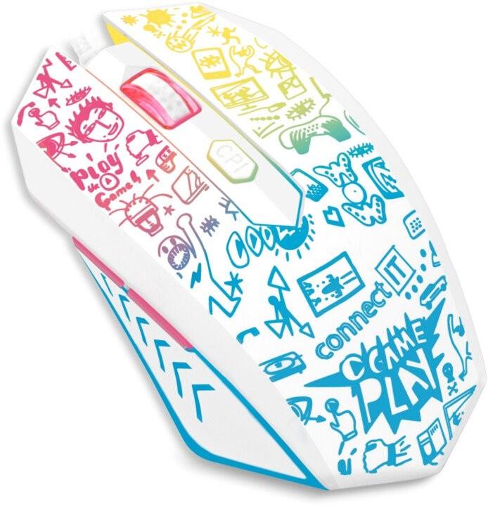 Drôtové myši Drôtová myš Connect IT Doodle, 6 tlačidiel, podsvietená, biela