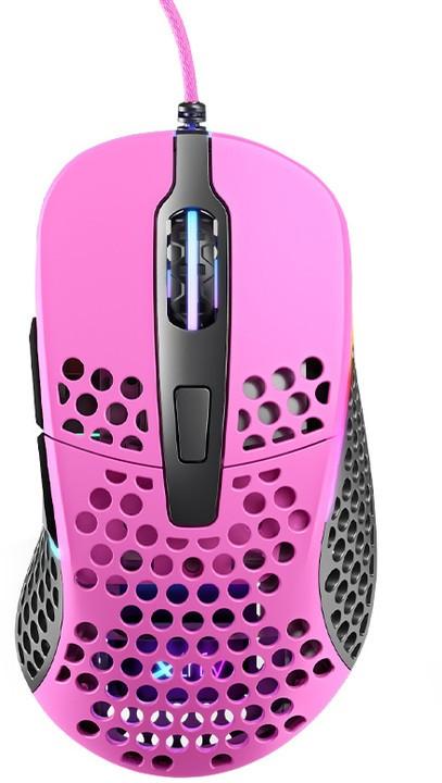 Drôtové myši Herná myš Xtrfy M4 RGB, 16 000 dpi, ružová