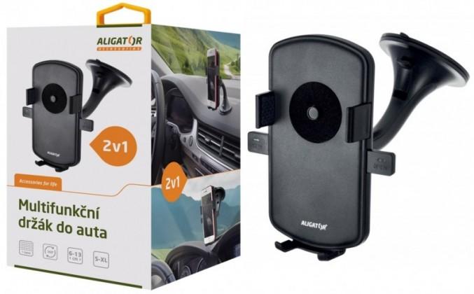 Držiaky a stojany Držiak do auta Aligator HA1 2v1, otočný 360°, automatický úchyt