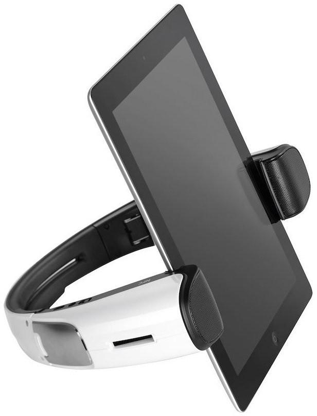 Držiaky, stojany CANYON designový BT+NFC reproduktor - stojan na tablet, bílý