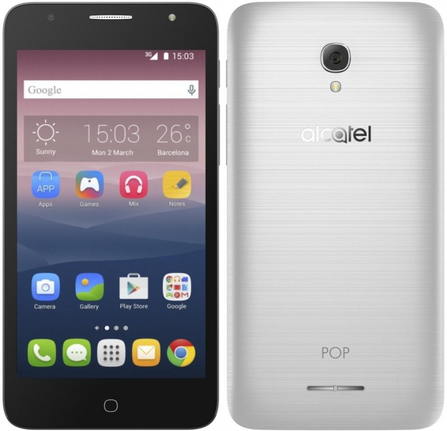 Dual SIM telefón Alcatel POP 4+ OT-5056D, strieborna