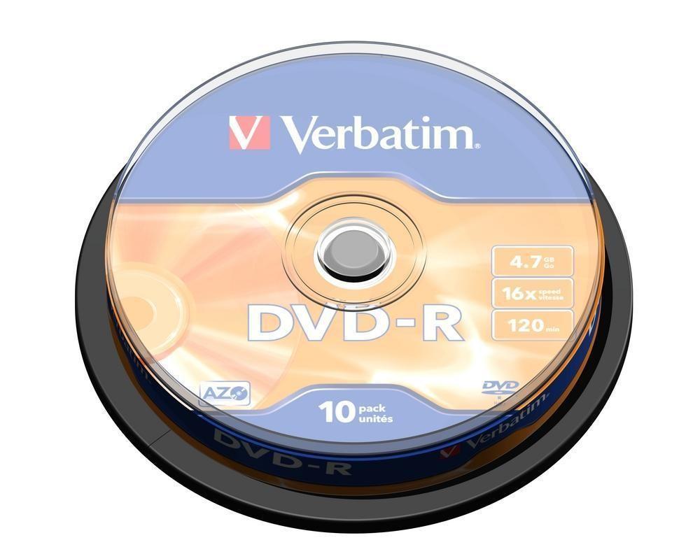 DVD Verbatim DVD-R 16x, 10ks cakebox (43523)