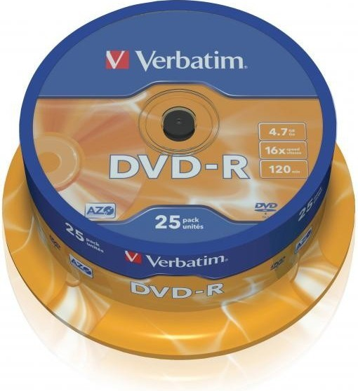 DVD Verbatim DVD-R 16x, 25ks cakebox (43522)