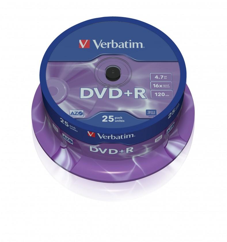DVD Verbatim DVD+R 4,7GB 16x, 25ks (43500)