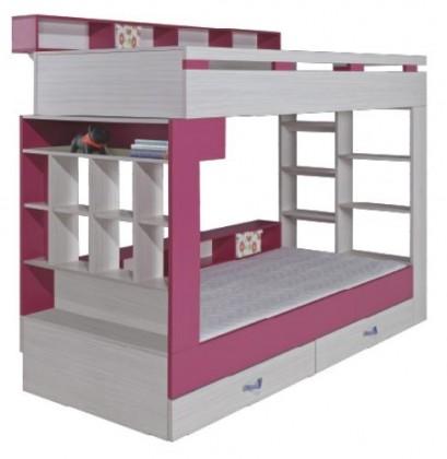 Dvojposchodová posteľ Komi KM 14 (Ružová)