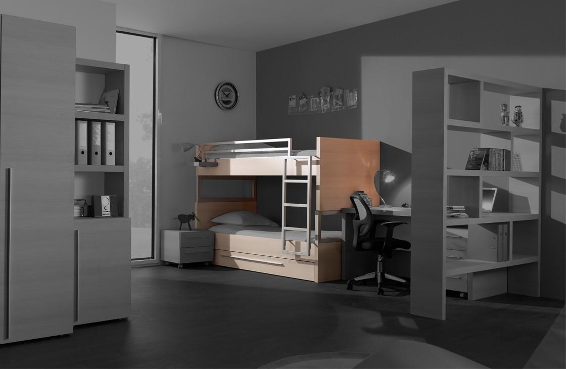 Dvojposchodová posteľ Match - posteľ poschodová (borovica carrizo)