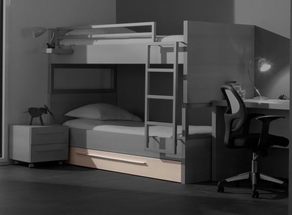 Dvojposchodová posteľ Match - úložný priestor (borovica carrizo)