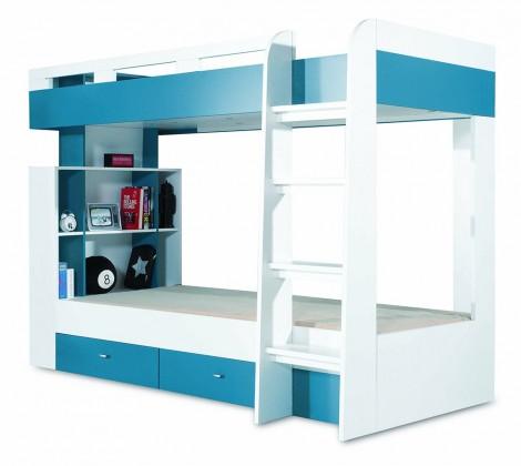 Dvojposchodová posteľ Mobi - Posteľ dvojposchodová (biela lesk/tyrkysová)