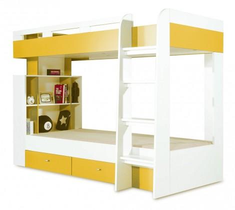 Dvojposchodová posteľ Mobi - Posteľ dvojposchodová (biela lesk/žltá)