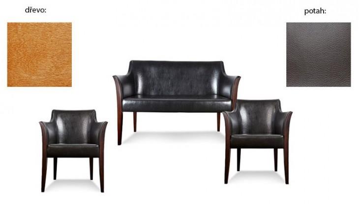 Dvojsedák Bari 2+1+1 (extra leather brown sk. III / drevo č. 4)