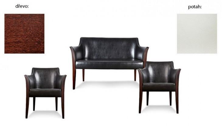 Dvojsedák Bari 2+1+1 (extra leather white sk. III / drevo č. 2)