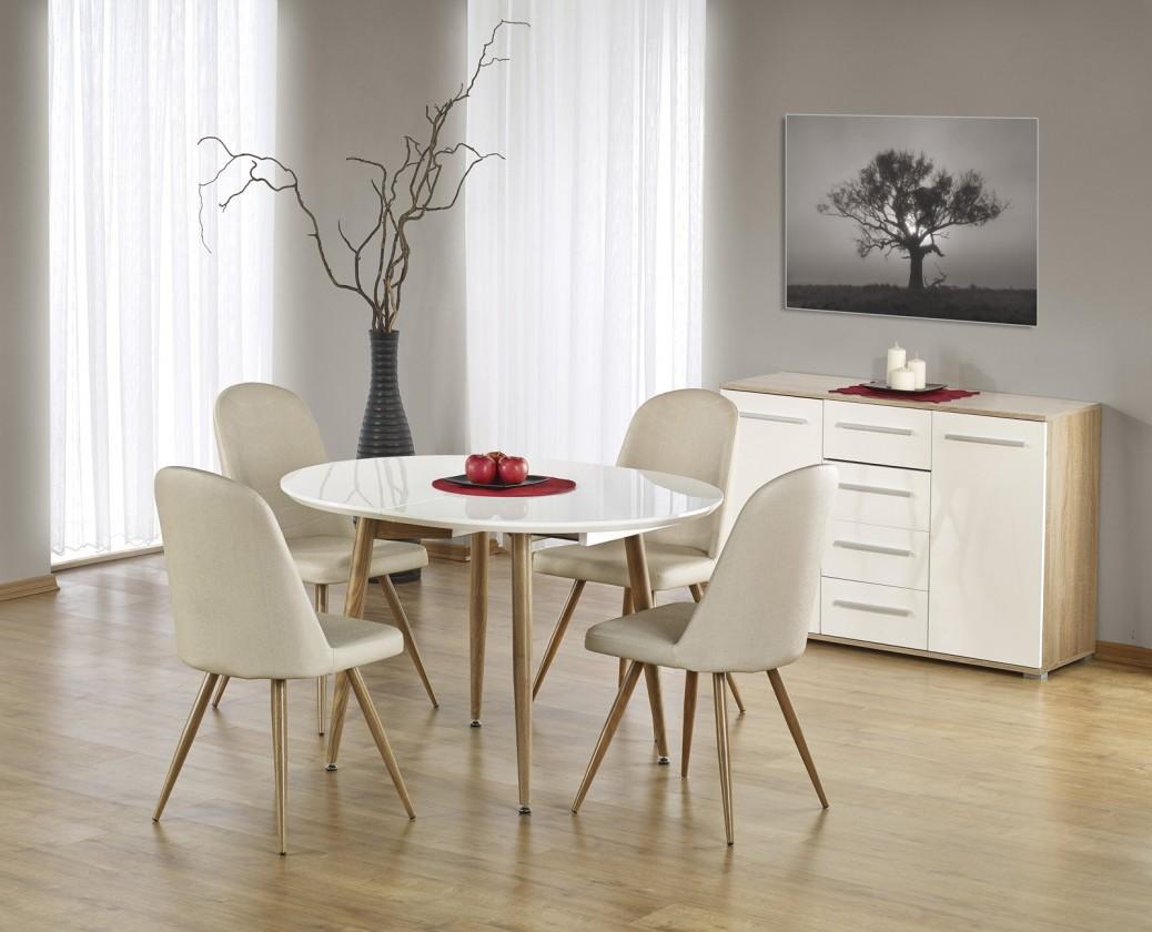 Edward - Jedálenský stôl 120-200x100 cm (biely lak, dub medový)