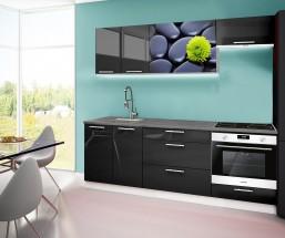 Emilia 2 - kuchynský blok A 220 cm (čierna, pracovná doska - titan)