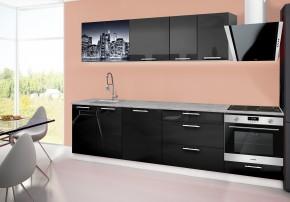 Emilia 2 - kuchynský blok B 280 cm (čierna, pracovná doska - titán)