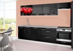 Emilia 2 - kuchynský blok D 280 cm (čierna, pracovná doska - titán)