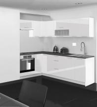 Emilia - Kuchyňa rohová, 150/250 cm P (biela, PD čierna)
