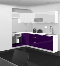 Emilia - Kuchyňa rohová, 150/250 cm P (bielo-fialová, PD biela)