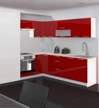 Emilia - Kuchyňa rohová, 150/250 P (červená, travertín svetlý)