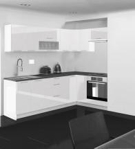 Emilia - Kuchyňa rohová, 250/150 cm L (biela, PD čierna)